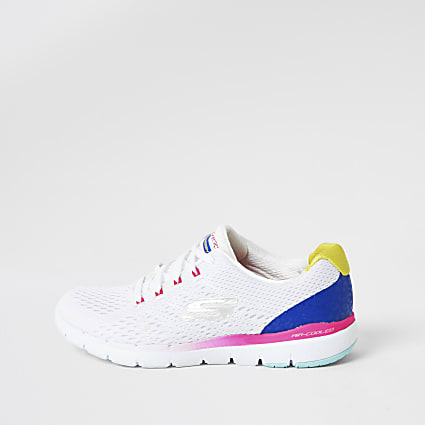 Skechers white Flex Flashy Nite trainers