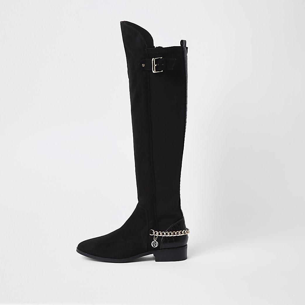 Zwarte kniehoge laarzen met kettinkjes