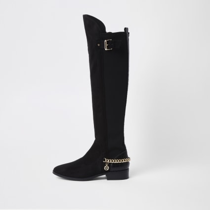 Black chain detail knee high boots