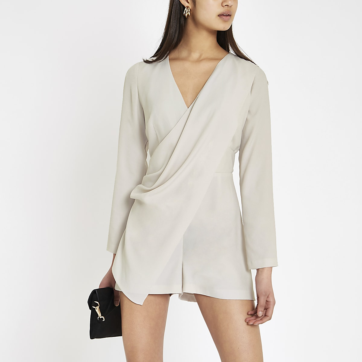 Grey wrap front long sleeve playsuit