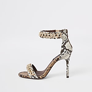 Beige snake print barely there sandals