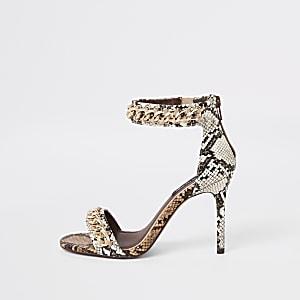 Sandales minimalistes à imprimé serpent beiges