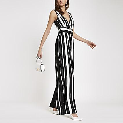Black stripe belted wide leg jumpsuit