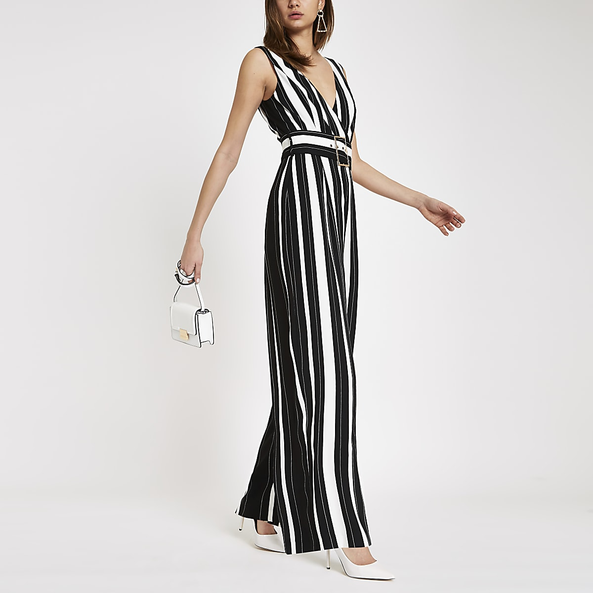 Black stripe belted wide leg jumpsuit | River Island