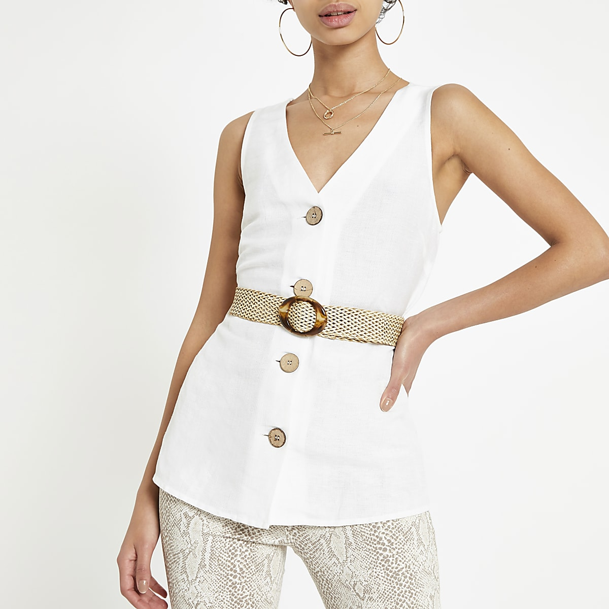 White button front belted vest