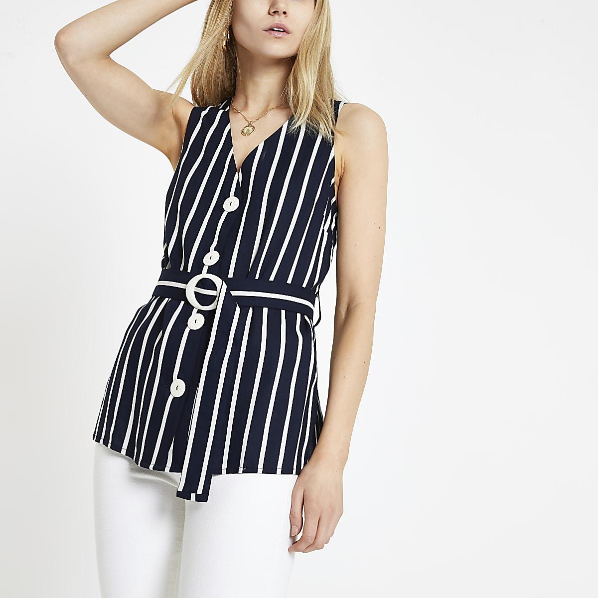 Navy stripe belted waist top