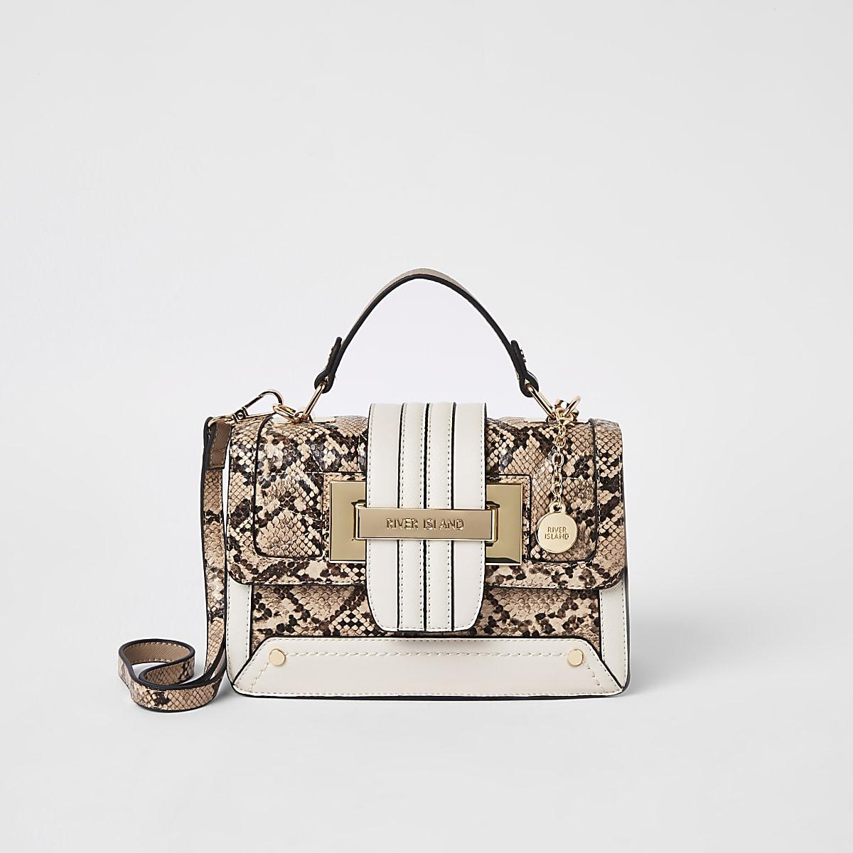 Beige snake contrast satchel bag