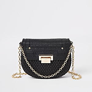 Black weave chain cross body bag