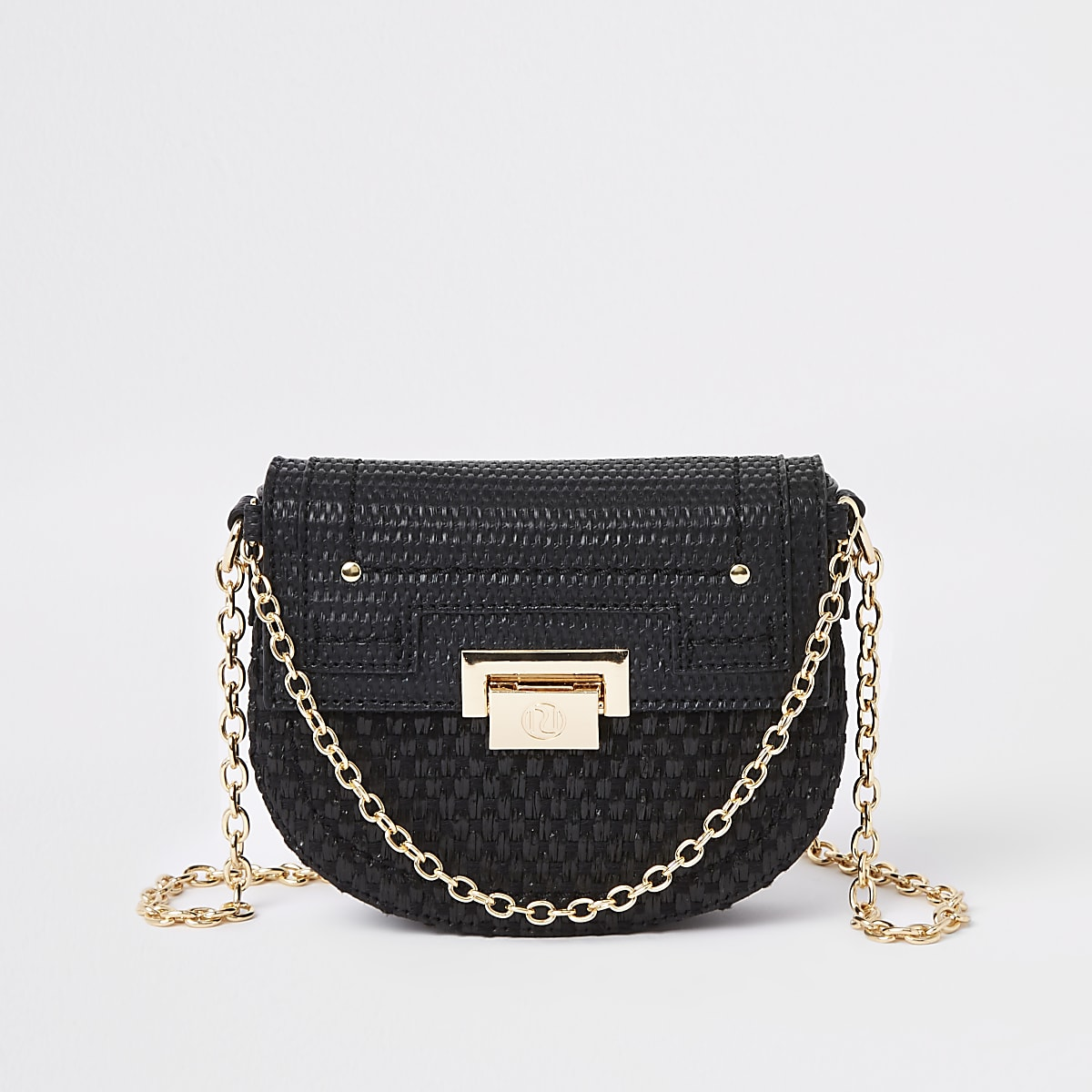 Black weave chain cross body bag