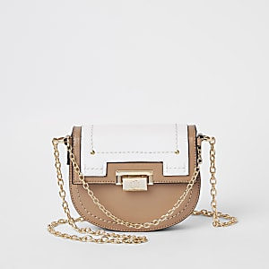 Beige saddle lock front chain cross body bag