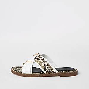 White cross strap ring flat sandals