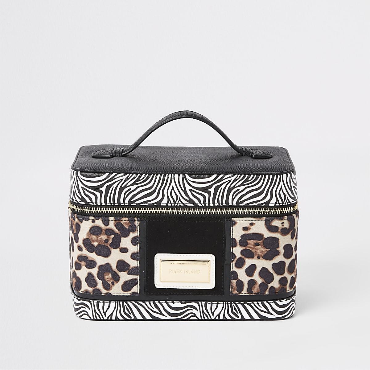 Black animal print vanity case