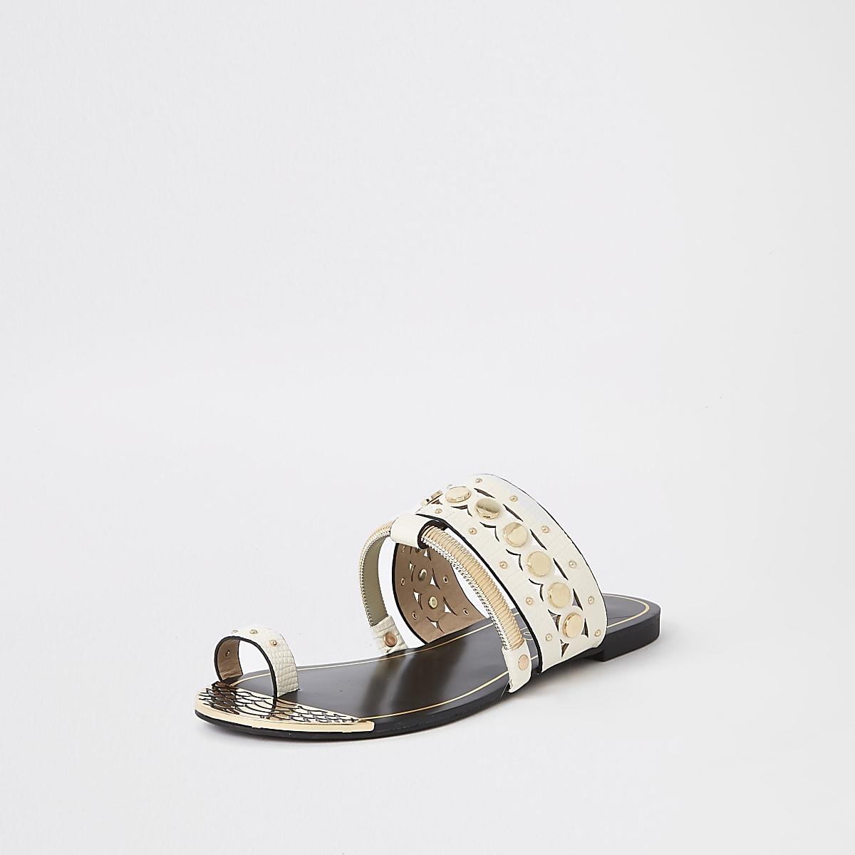d85705783 White gold tone trim toe ring sandals - Sandals - Shoes   Boots - women