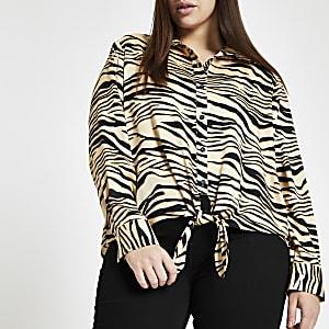 Plus black zebra print tie front shirt