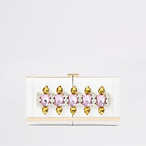 White gem embellished clip top purse