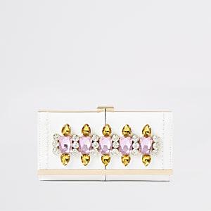 Witte verfraaide portemonnee met druksluiting en siersteentjes