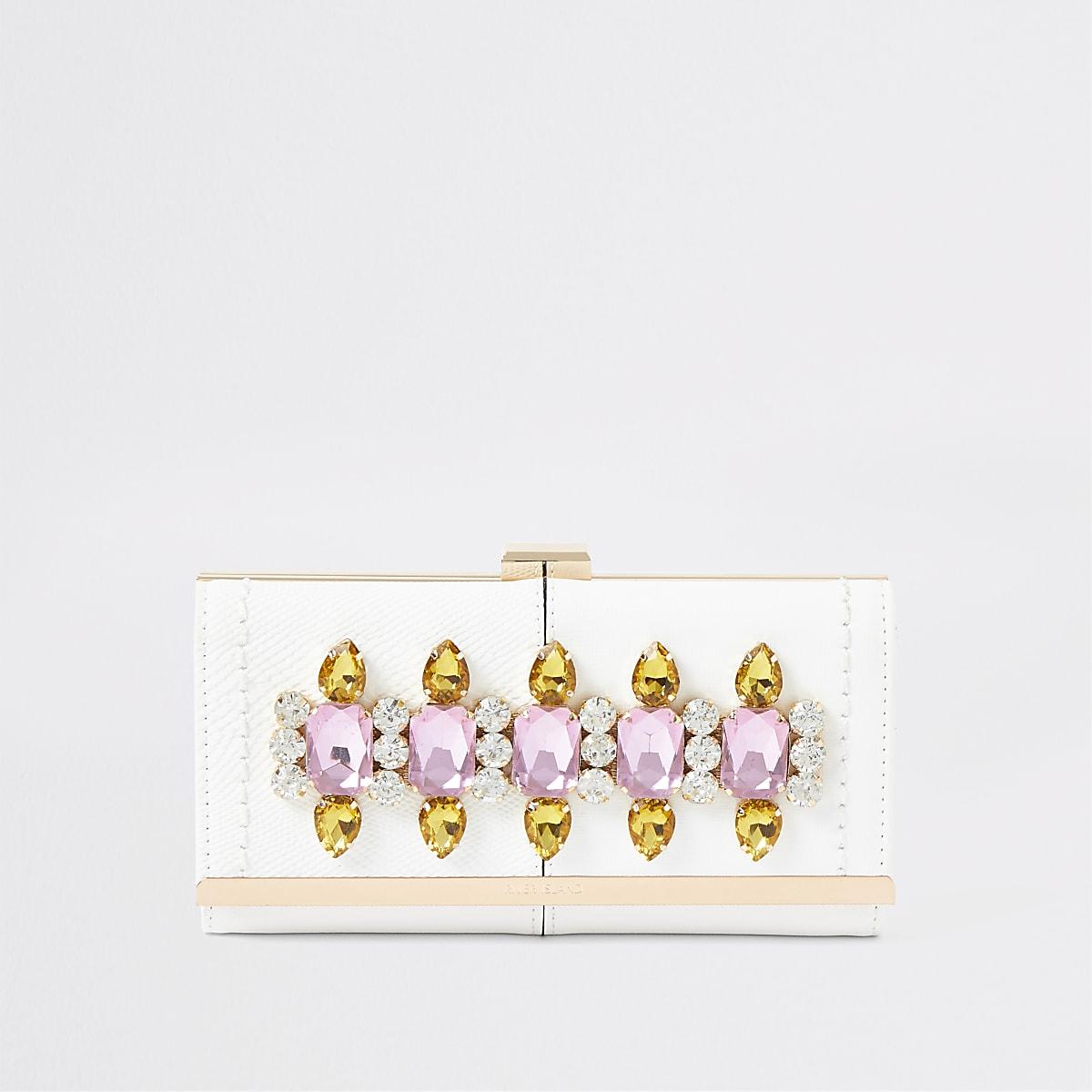 White gem embellished clip top purse