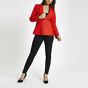 Petite red long sleeve blazer