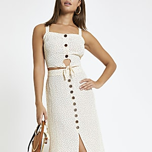 Cream spot print tie front crop top