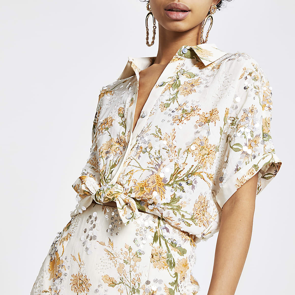 Yellow floral sequin tie front shirt