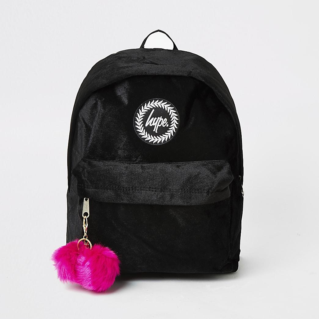 Hype -Sac à dos noir en velours avec pompons