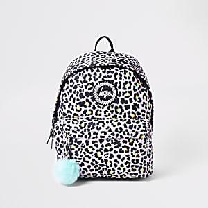 Hype light purple leopard print backpack