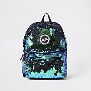 Hype dark green sequin embellished backpack