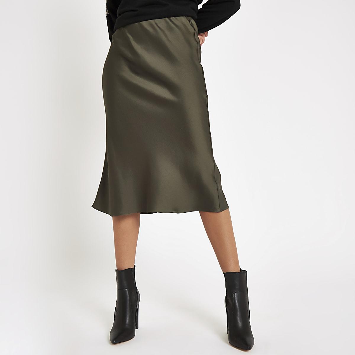 6d2f3dd08ff8 Khaki bias cut midi skirt - Midi Skirts - Skirts - women