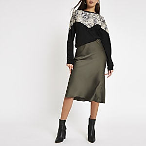 Khaki bias cut midi skirt