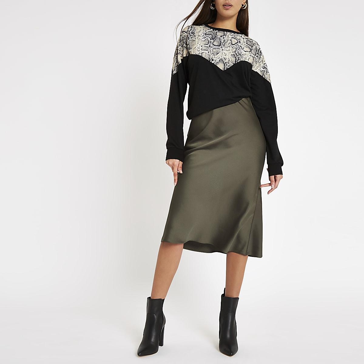 Khaki bias cut midi skirt