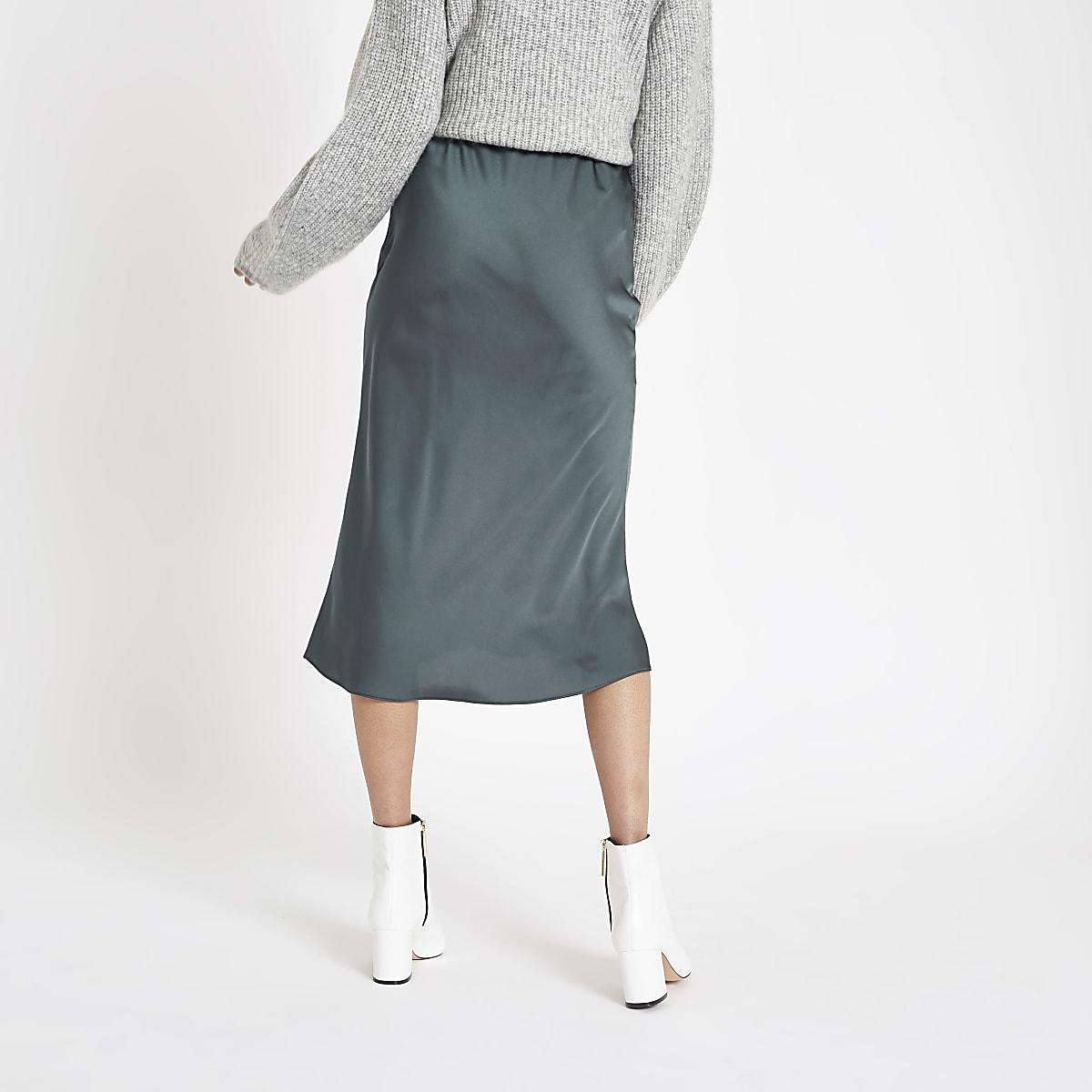 select for original top style price Dark blue bias cut midi skirt