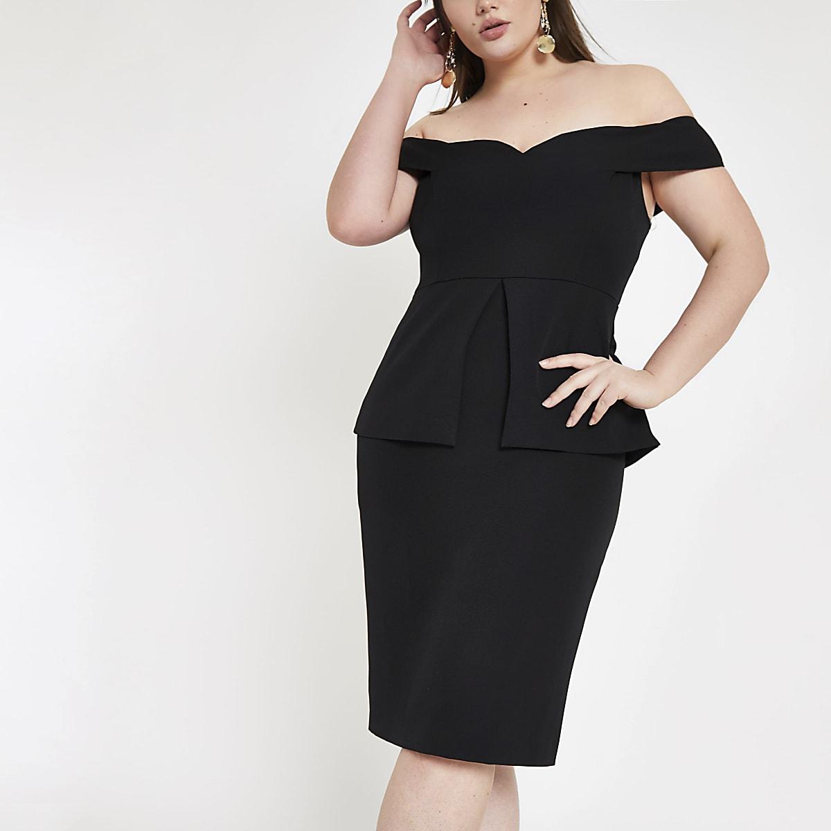 7137250015cd Plus black bardot structured midi dress - Bardot & Bandeau Dresses - Dresses  - women
