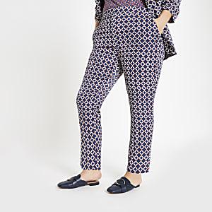 Plus – Pantalon à imprimé géométrique bleu