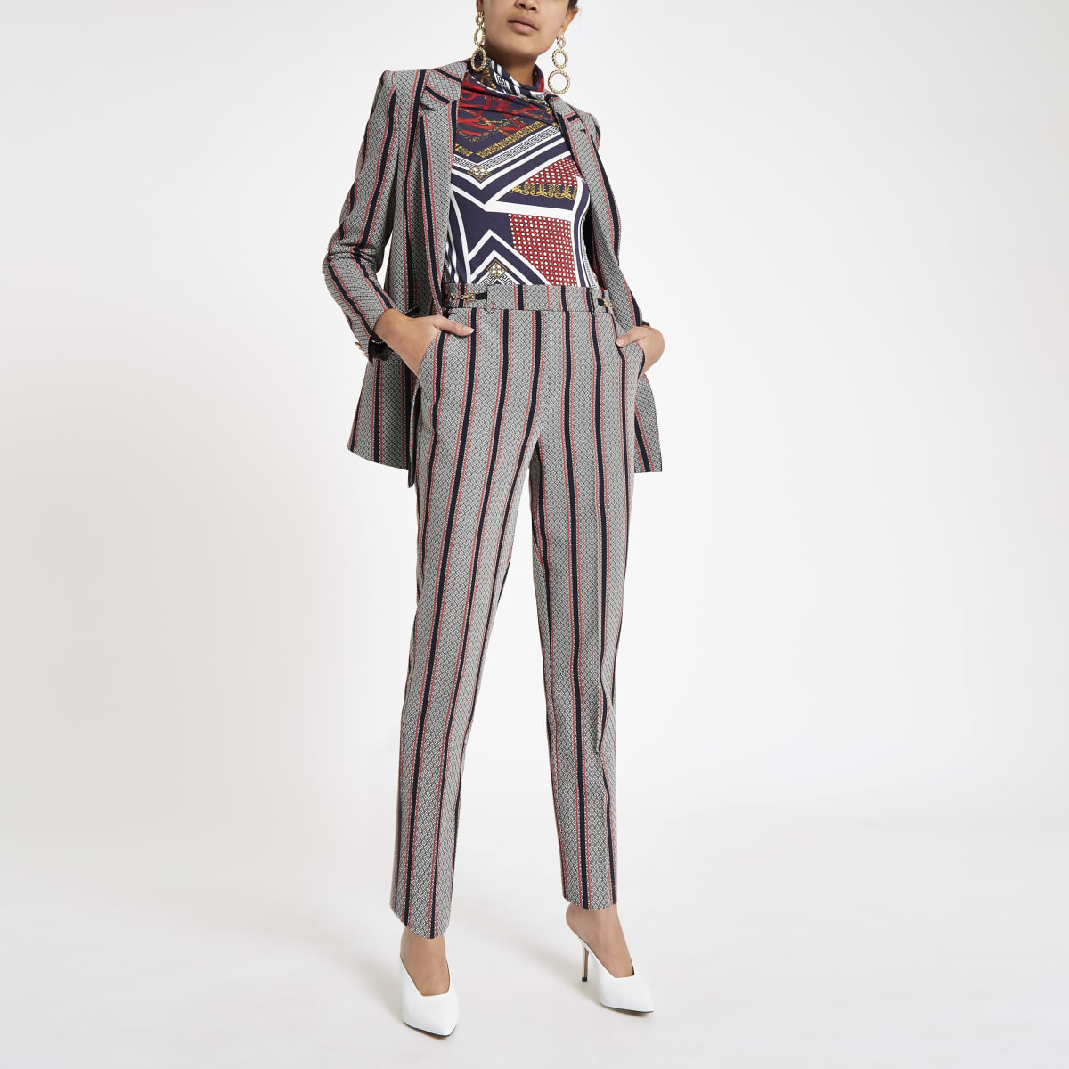 Black stripe snaffle cigarette pants