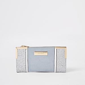 Light blue glitter fold out purse