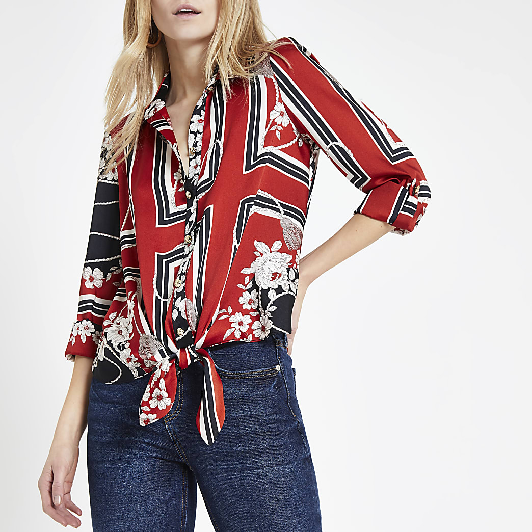 Red scarf print tie front shirt