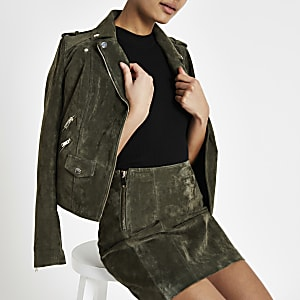Khaki suede mini skirt