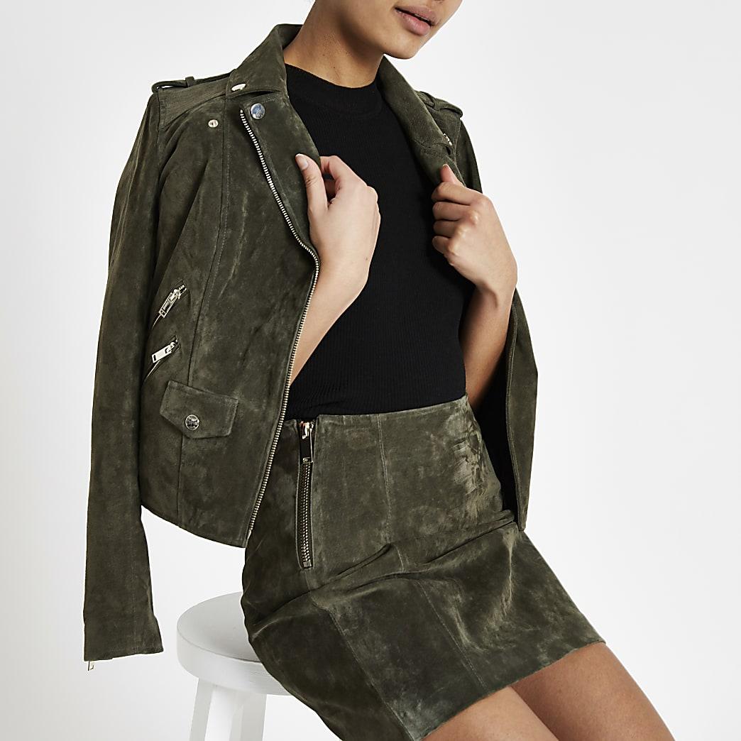 Khaki suede mini skirt