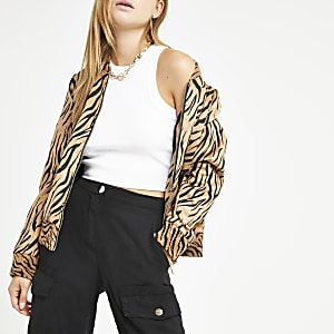Brown tiger print bomber jacket