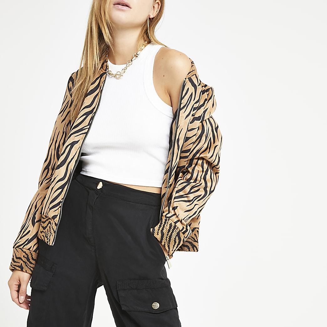 Brown tiger print bomber jacket
