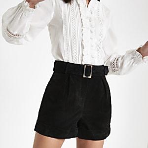 Black suede belted shorts