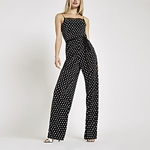 Black spot plisse lace trim jumpsuit