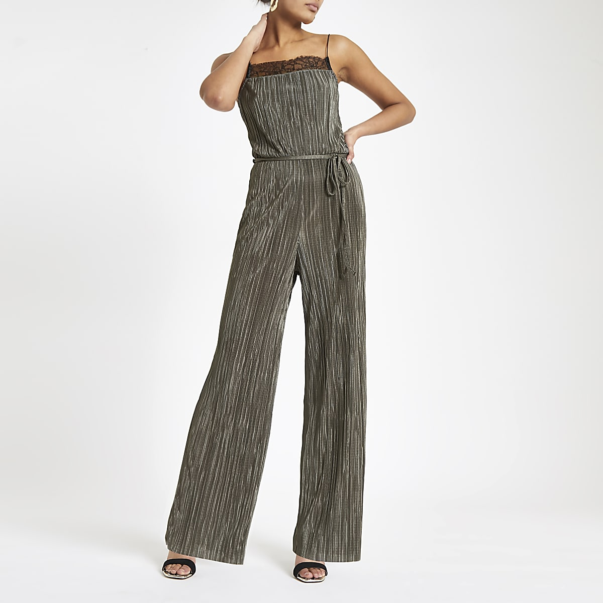 Dark green lace trim plisse jumpsuit
