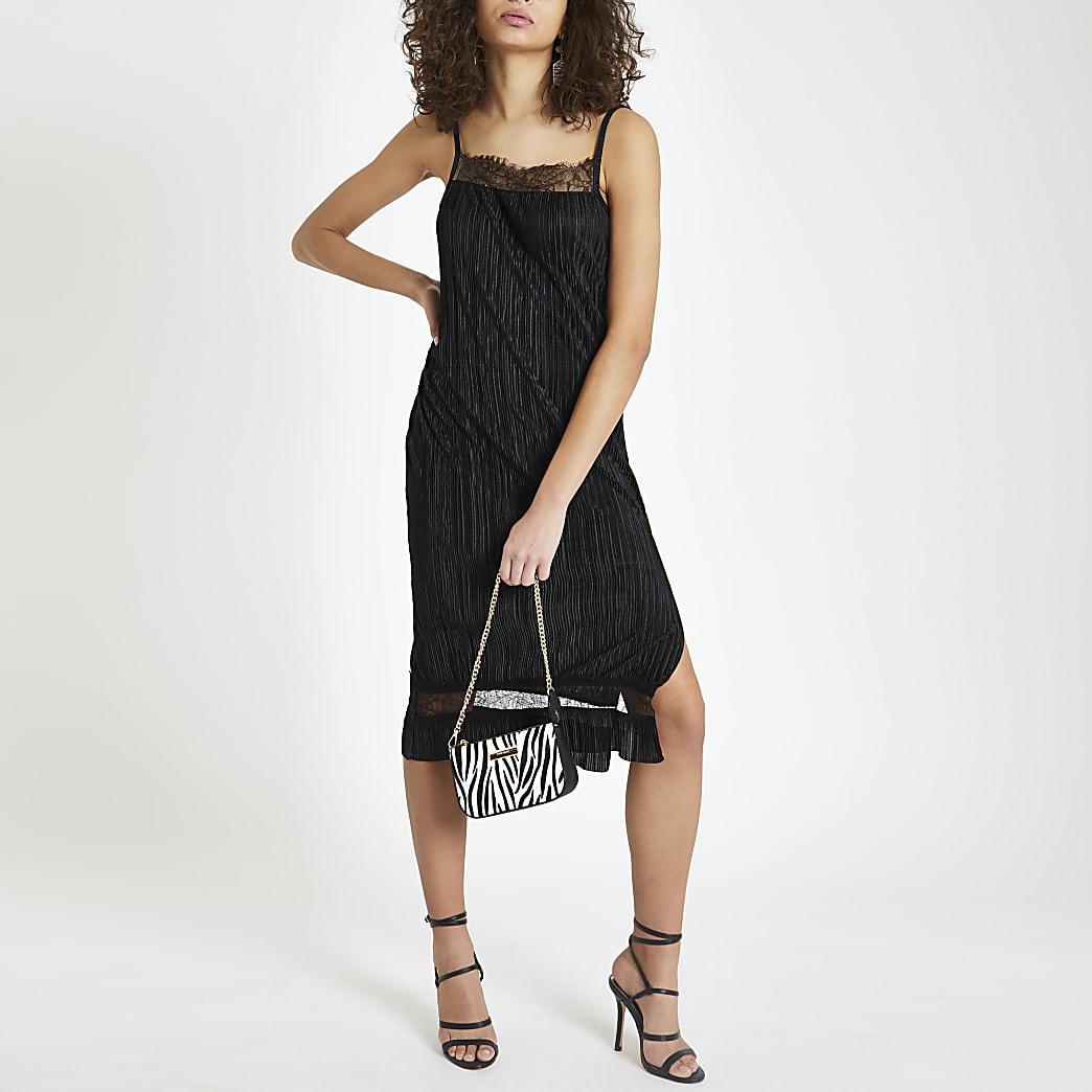 Black plisse lace trim slip dress