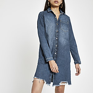 Middenblauwe denim ripped overhemdjurk