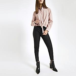 Petite – Chemise rose nouée devant