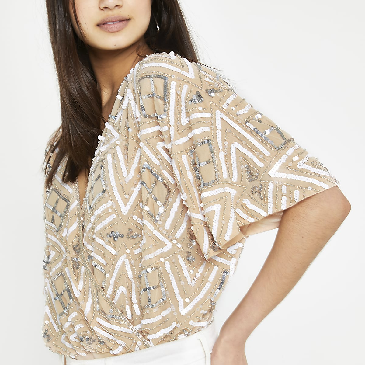 Beige sequin embellished cape sleeve bodysuit