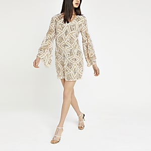 Beige sequin embellished shift dress