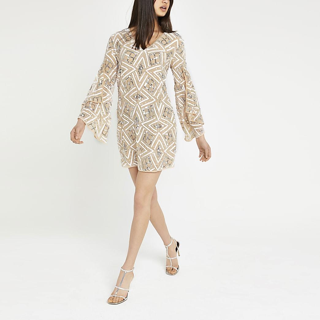 Beige sequin embellished shift dress