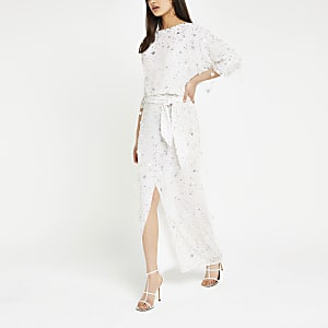 White sequin embellished maxi dress